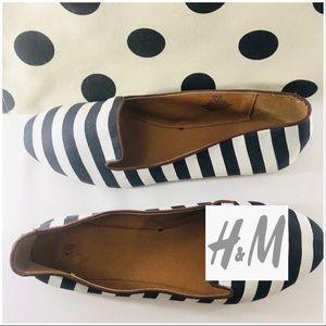 H&M Stripe black & white fabric flats NWOT 9.5